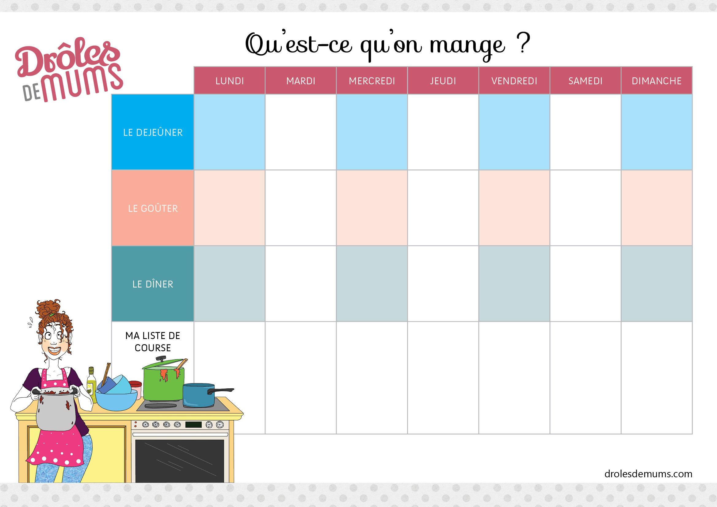 Mon Planning De Menus Pour La Semaine A Imprimer Droles De Mums