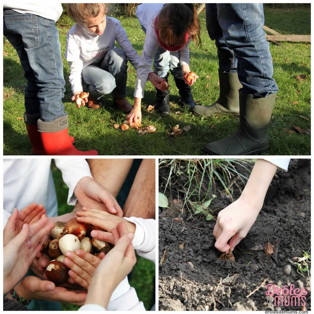 Dehors les enfants atelier jardinage on plante des bulbes - Comment planter des bulbes ...