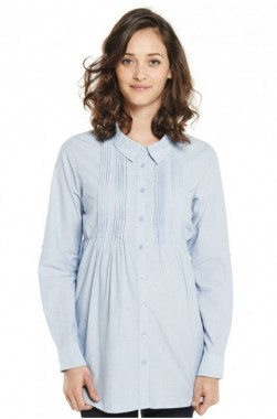 Chemise de grossesse en coton bleu avec ceinture amovible Chambray Mamalicious pour émoi émoi, 19,98 €
