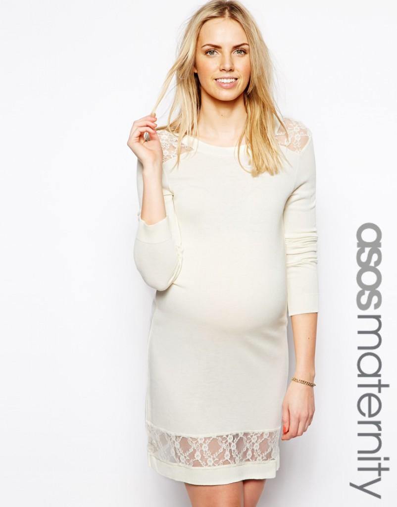 Robe pull avec empiècements en dentelle Asos Maternity, 21,99 €