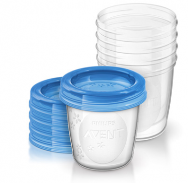 5 pots de conservation 180 ml + couvercles Philips Avent