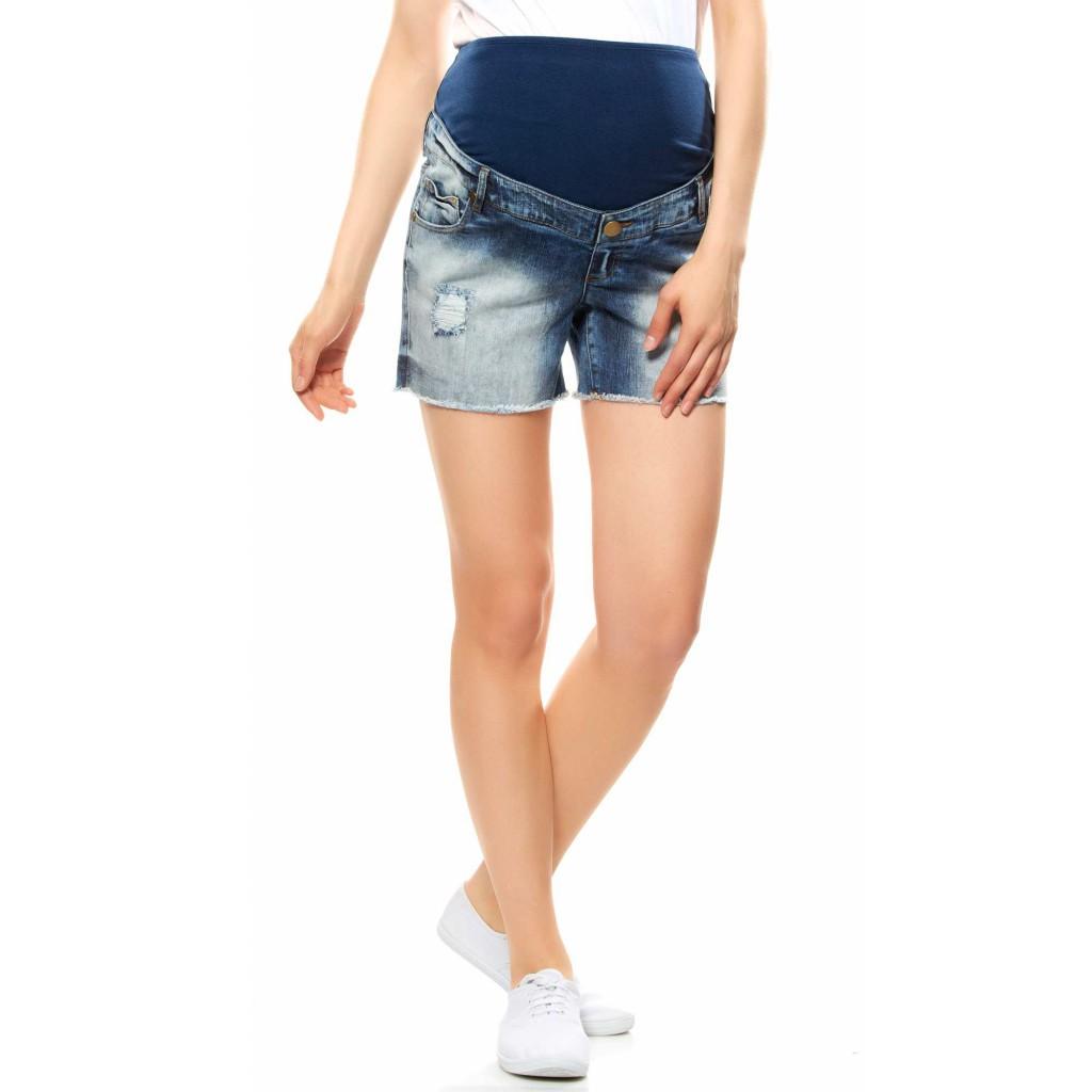 Short de grossesse en jean effet usé Kiabi, 16,80 €