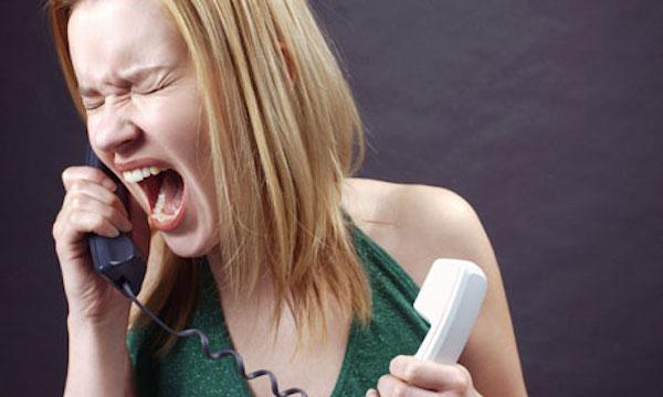 Angry woman on phone
